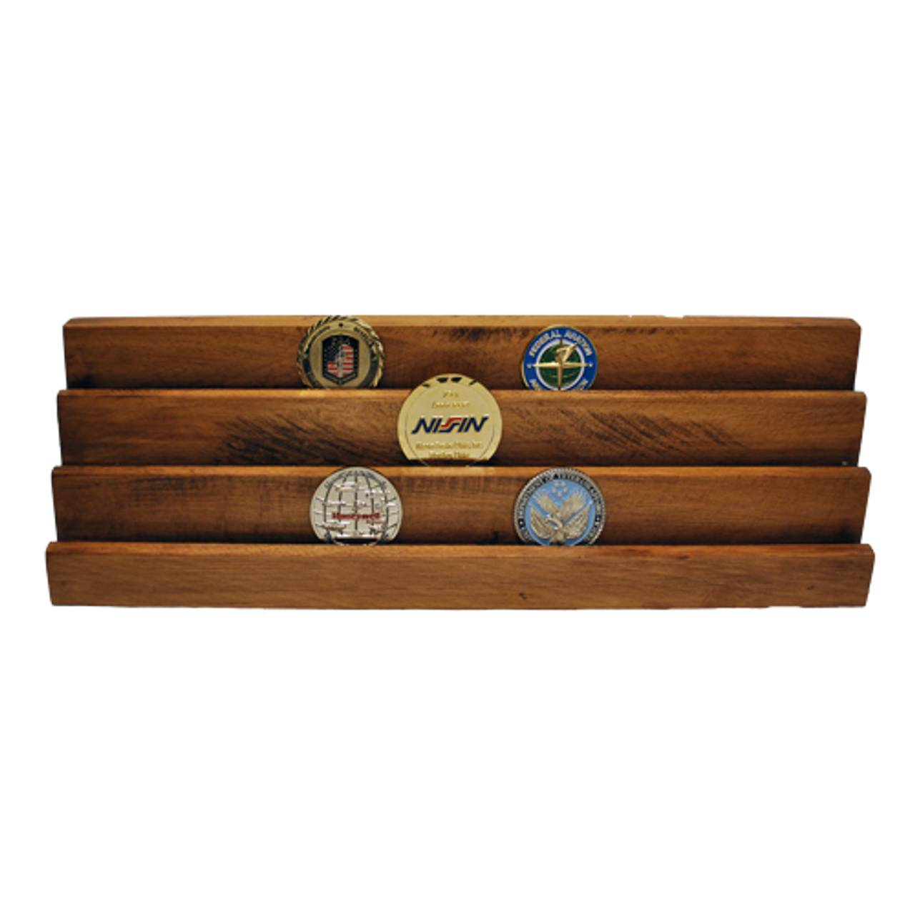 Wooden Challenge Coin Display Stand 3 Vertical Rows