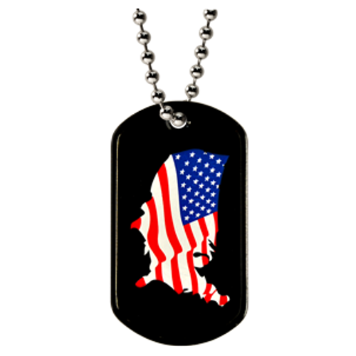 Color printed dog tag with american flag printed on a black tag.