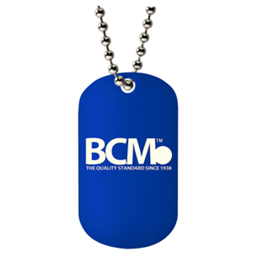 Custom BCM 0.8mm laser engraved dog tag. The logo is laser engraved on a blue tag with a ball chain necklace.