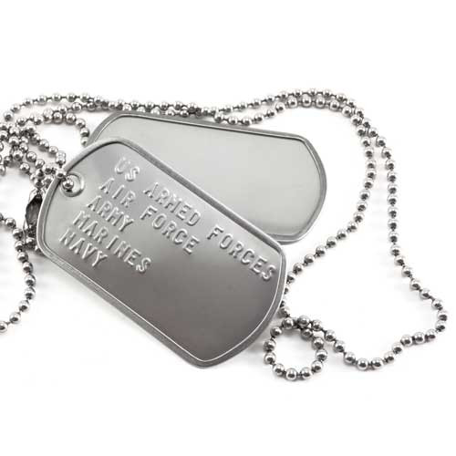 ... Custom embossed text military dog tags with free ball chain necklace.  The avaialable 5 lines 7004c25ee7d
