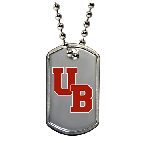 Mini dog tag that is color printed with silver ball chain necklace.