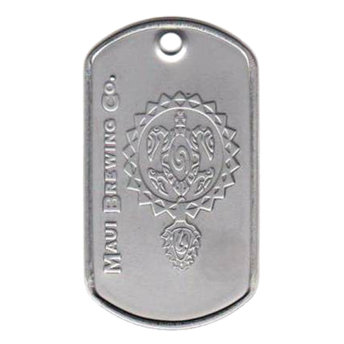 Custom embossed logo dog tag with maui brewing logo on a matte dog tag.