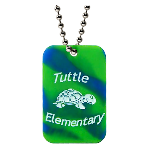Custom blue and green silicone turtle elementary dog tags. With a custom ball chain.