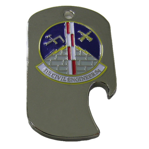 Custom stainless steel side slot dog tag bottle opener. Military.