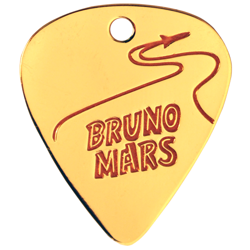 Custom guitar pick with an etched logo filled with red coloring. This guitar pick was done for Bruno Mars to promote one of his concert tours.