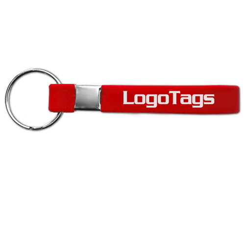 Red custom silicone bracelet keychain.