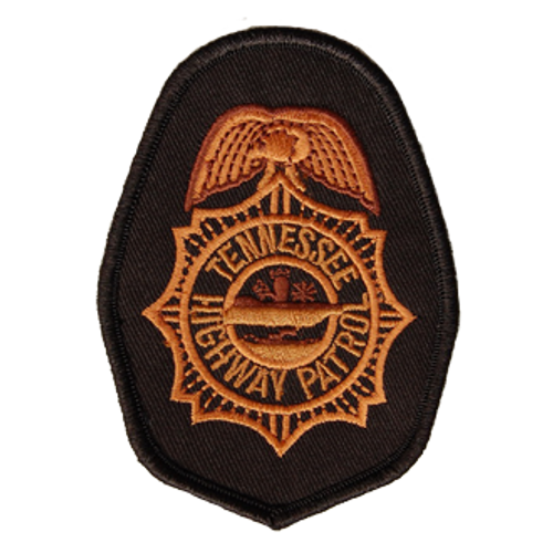 custom 3.25 inch patch with 2 colors. Custom sheriffs department patch. Orange and black fabric and thread.