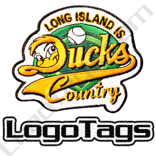 Custom long island ducks embroidered patch. Green black and gold. Baseball patch.