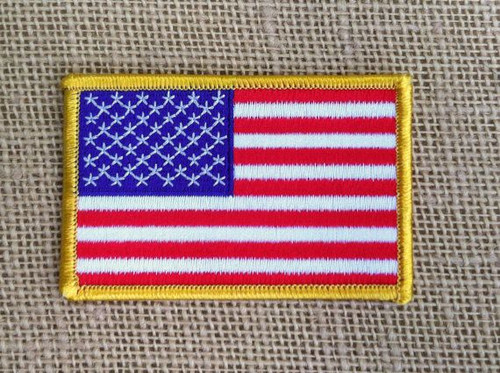 American flag 4 inch patch. Red white and blue custom flag patch. This patch as purchased by a large security company and has a morrow border around the flag, which helps the flag stand out.