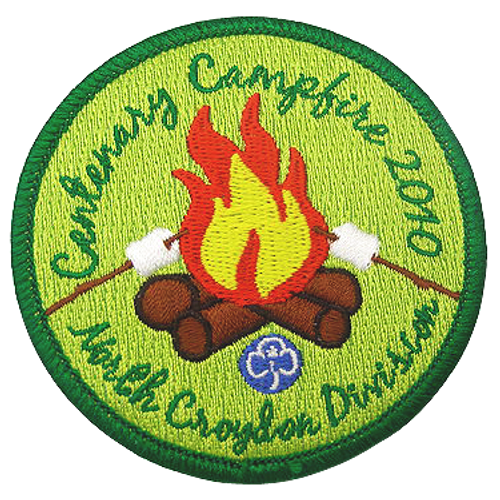 Custom camp patch, burning fire and 5 custom colors. Custom applique. The embroidery detail of this patch was amazing.