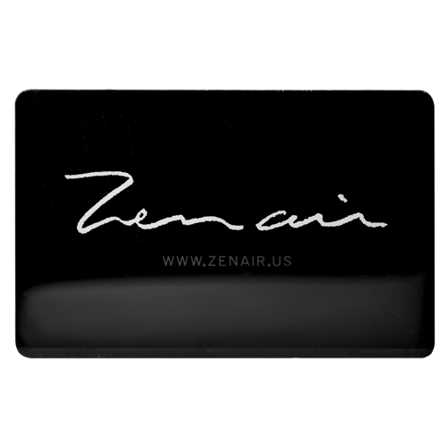 Custom black metal business card with silver script printing.