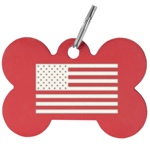 Bone shaped tag with custom american flag laser engraved on surface. Red tag. These custom pet id tags were produced in bulk and shipped out in just 2 days. This tag is available in multiple anodized aluminum colors.