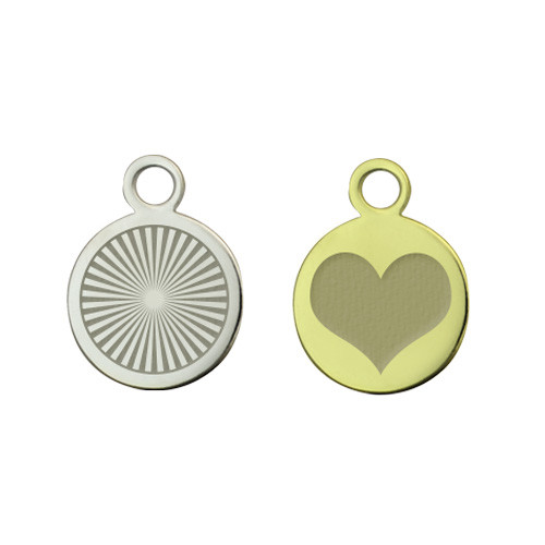 custom laser engraved charms. One brass plated and one nickel plated round charm.