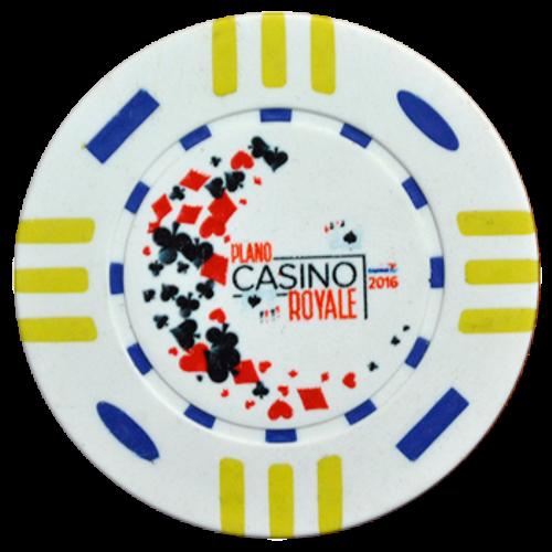 White custom poker chip with casino royale.