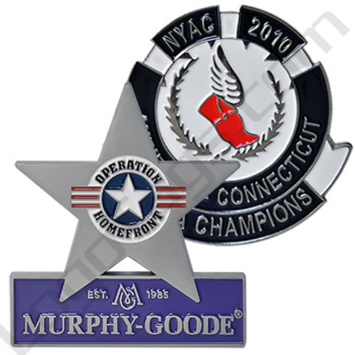 Custom stamped steel lapel pins. Murphy Good an New York Athletic Club Pins.
