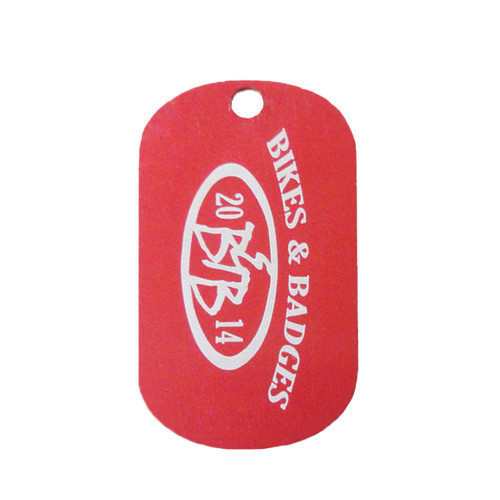 Red Laser Engraved Dog Tag