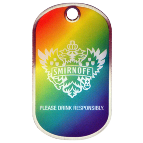 Custom offset printed dog tag 1.55m thick stainless steel smirnoff promotional product tag.
