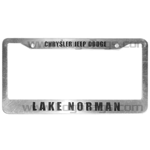 Custom made aluminum license plate holders with Lake Normal design