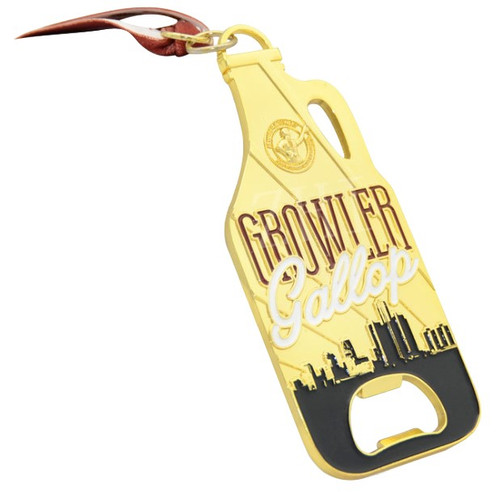 Custom bottle opener shaped like a beer growler. Gold plated with black, red and white color fill.