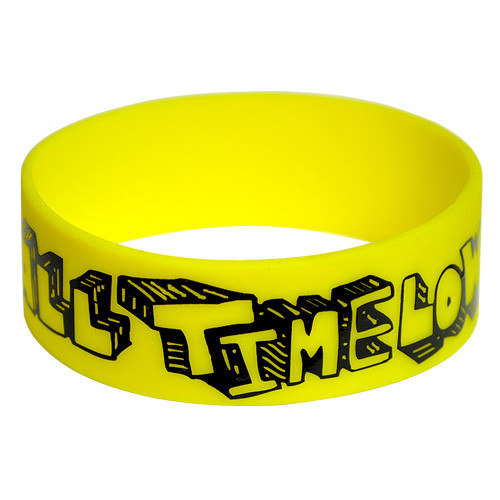1 color wide screen printed custom silicone wristbands