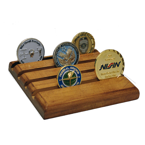 wooden coin stand flat with 4 rows for challenge coins