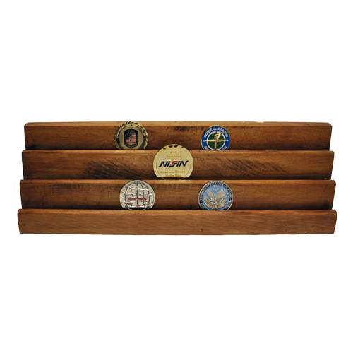 Custom wooden display stand 3 rows vertical with custom challenge coins