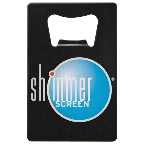 black coated custom color printed credit card bottle opener with shimmerscreen logo.