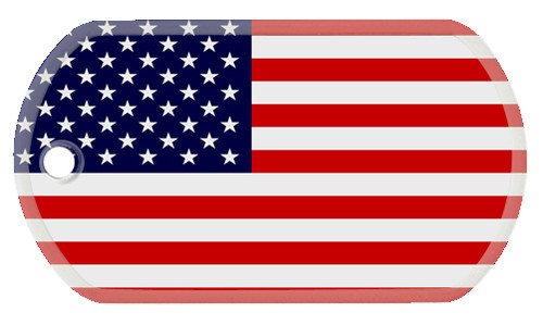 Dog Tag with the flag of the United States of America color printed on the tag.