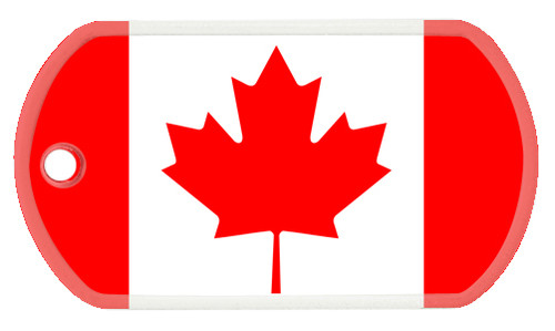Canadian flag color printed on a standard sized dog tag utilizing a CMYK color printing machine. Each tag comes with a dog tag chain that is manufactured by our parent company, Ball Chain Mfg Co., Inc.