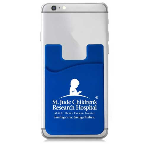Custom adhesive silicone cell phone wallet on a phone