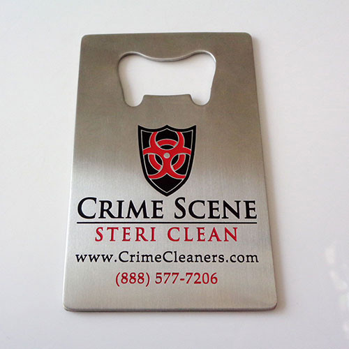 Custom credit card bottle opener with photo etched crime scene steri clean logo. Etching has 2 color fills red & black.