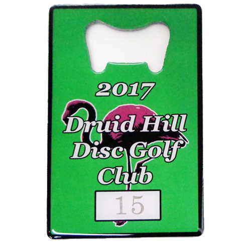 Custom credit card bottle opener with offset printed Duid Hill Disc Golf Club logo.