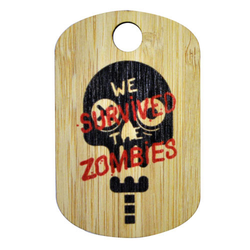 Custom monster extra large bamboo dog tag. with Zombie Run image on it.