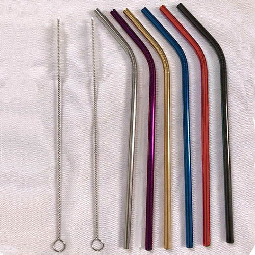 Bent Stainless Steel straws with brushes. Also comes in straight style. Laser engrave your logo and or artwork directly onto the straw.