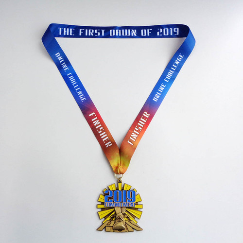 Custom 3.5 inch race medal. This medal has a custom shape and is a first place medal for an online award ceremony.