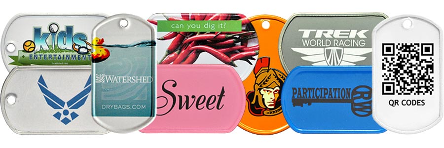 Our custom color printed dog tag collage with custom tags we have made for schools, camps, the airforce, and more.