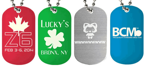 Laser engraved feature block with all the anodized aluminum color dog tags we offer. Each tag has a unique laser engraving on them from Lucky's to Z6.