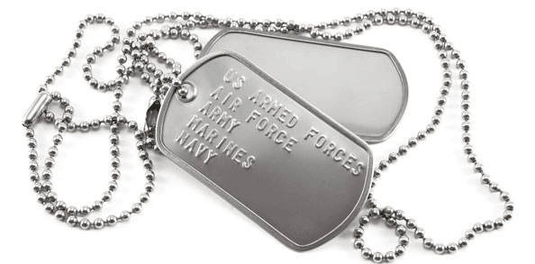 Custom military dog tag feature block with the US Military branches embossed on the tag with a ball chain dog tag chain.