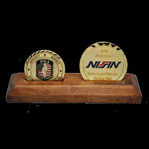 wooden challenge coins