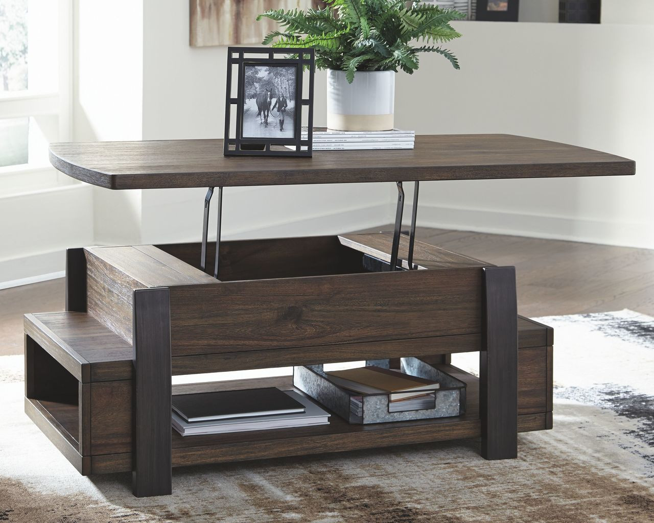 Ashley Vailbry Brown Lift Top Cocktail Table On Sale At Furniture And Mattress Warehouse Serving Holland Mi