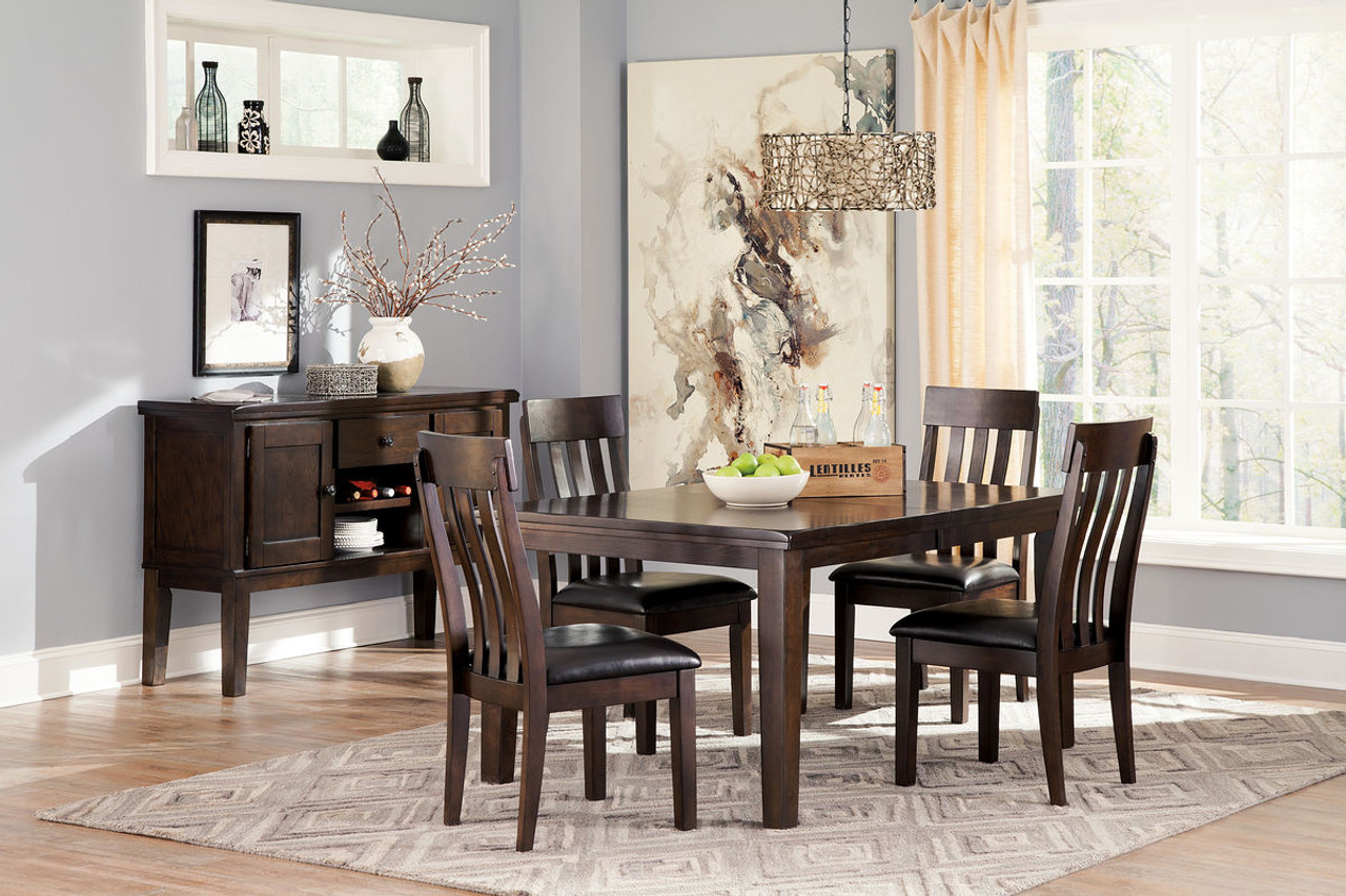 Ashley Haddigan Dark Brown 6 Pc Rectangular Dining Room Extension Table 4 Upholstered Side Chairs Server On Sale At Furniture And Mattress Warehouse Serving Holland Mi