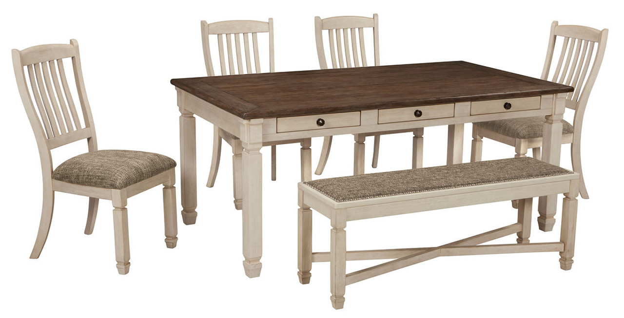 Superb Ashley Bolanburg Antique White 6 Pc Rectangular Dining Room Table 4 Upholstered Side Chairs Upholstered Dining Room Bench Pabps2019 Chair Design Images Pabps2019Com