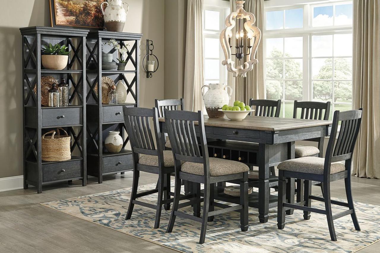 Tyler creek black gray 9 pc rectangular dining room counter table 6 upholstered