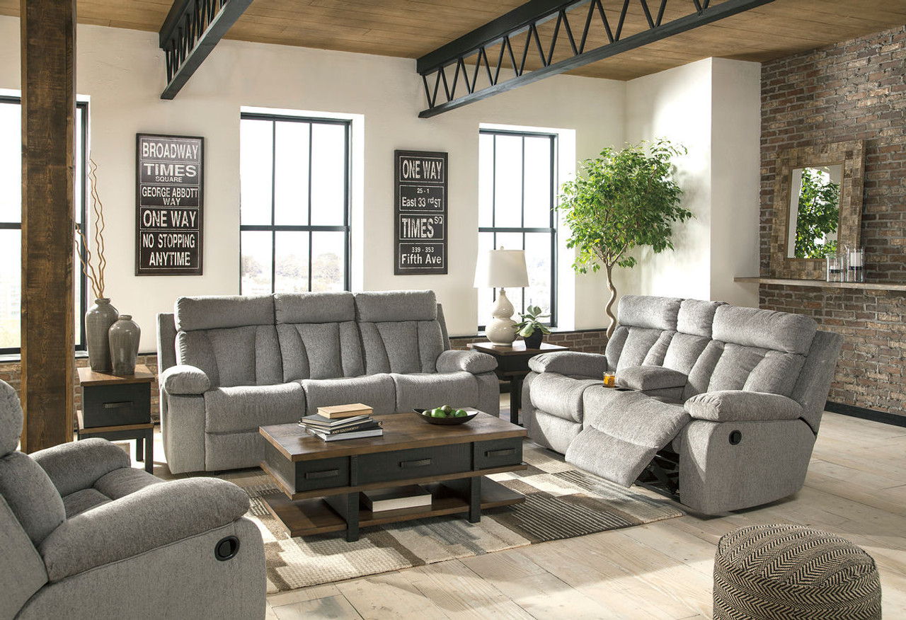 Fine Ashley Mitchiner Fog Reclining Sofa With Drop Down Table Double Reclining Loveseat With Console Rocker Recliner Bralicious Painted Fabric Chair Ideas Braliciousco