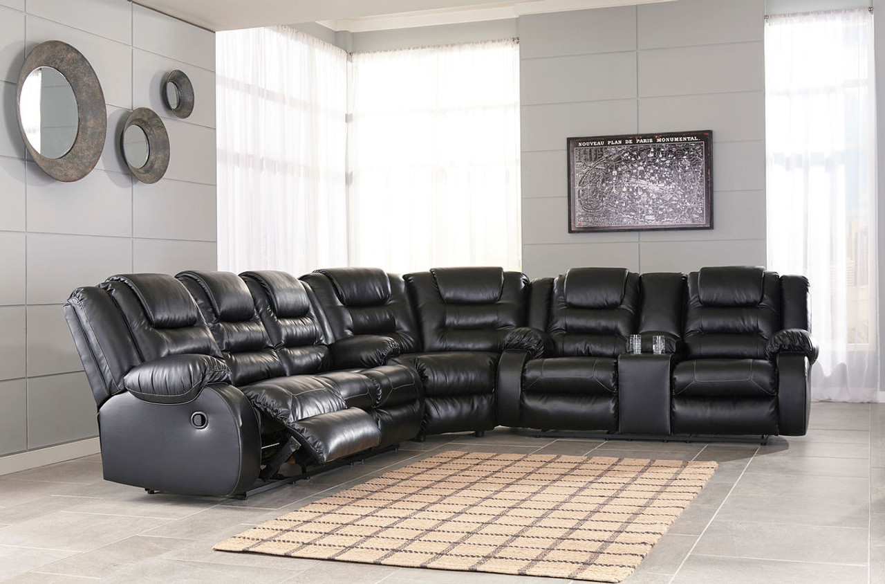 Ashley Vacherie Black Reclining Sofa, Wedge & Double Reclining Loveseat  with Console Sectional