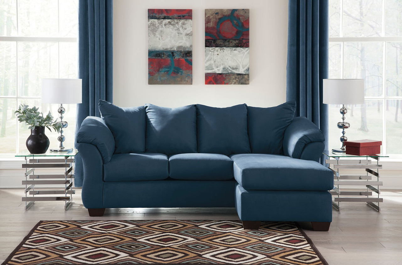 Ashley Darcy Blue Sofa Couch Chaise On Sale At Furniture And Mattress Warehouse Serving Holland Mi