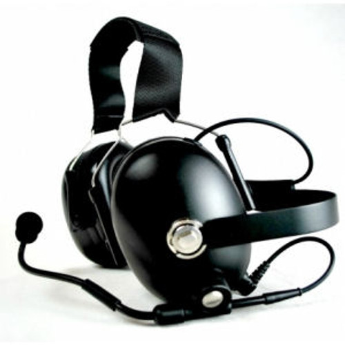 EF Johnson Multi-Net Ascend Noise Canceling Double Muff Behind The Head Headset