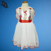 W012 Girls Floral Dress Red Blue