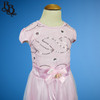 W120 Short Sleeve Girls Floral Leaf Party Dress