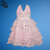 N003 Halter Neck Party Dress with pearl, sequin and layered skirt